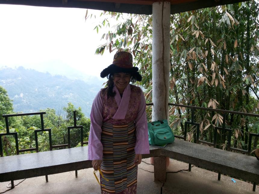 Team member Rhea in the traditional attiire