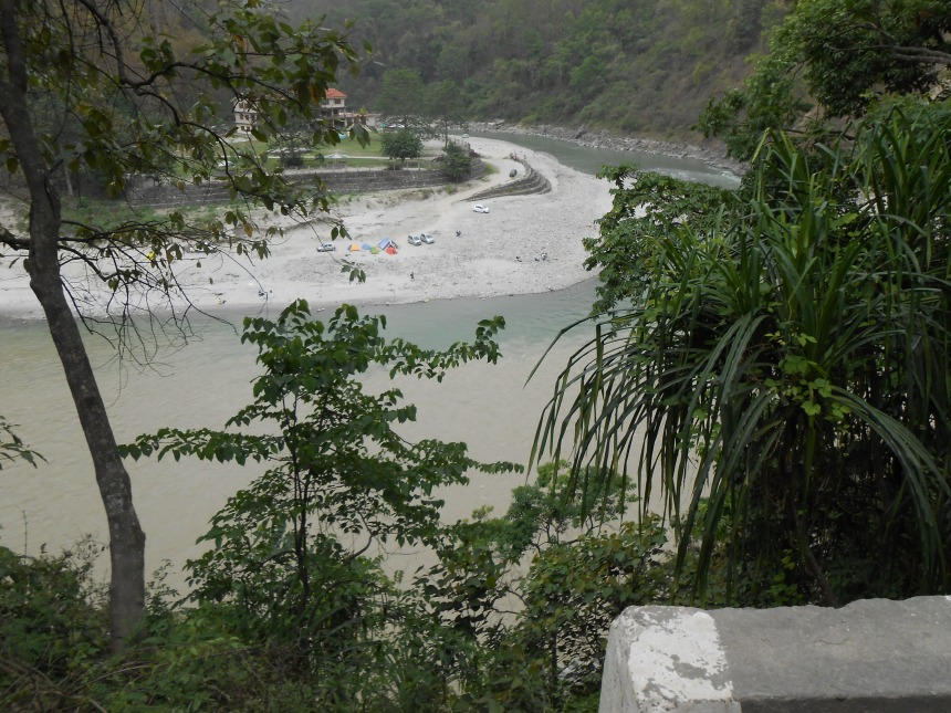 Meeting point of two rivers: Tista and Rangit (view from the highway)